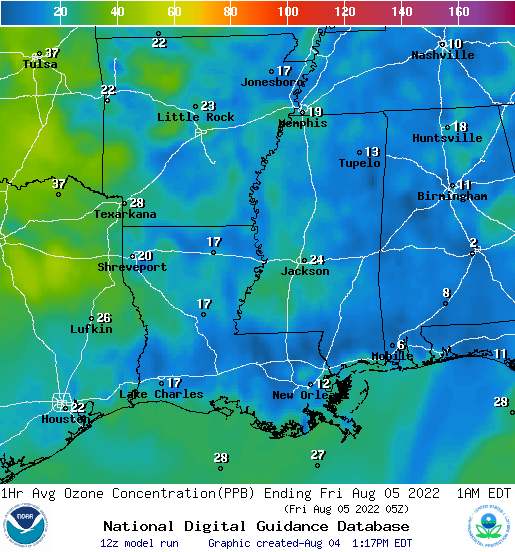 Graphical representation of ozone concentration across the Southeast, updated daily